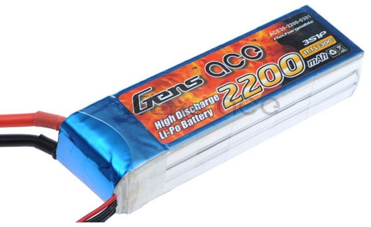 Gens ace 2200mAh 11.1V 30C 3S1P Lipo Battery
