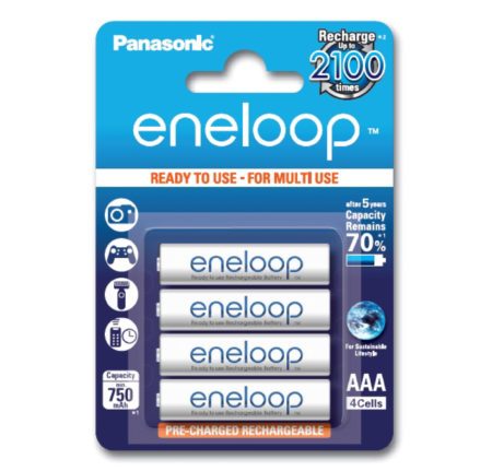 Panasonic eneloop AAA/HR03, 750 mAh, Rechargeable Batteries Ni-MH
